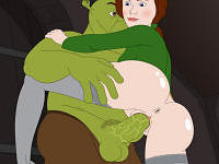 Shrek probes wet slit - Princess Fiona impales herself on Shrek's big dong