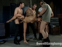 Husband surprises his hot wife with a gangbang for her birthday! Double penetration in bondage, blowbang, and more