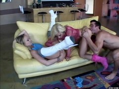 Blonde babes enjoy sharing their boy toy