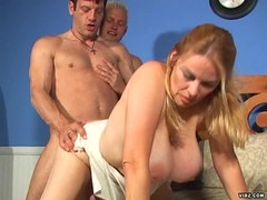 Hot blonde joins two boys fucking each other