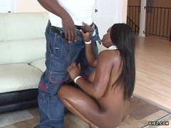 Black bitch scuffs down black meat