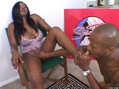 Lover fond of licking ebony bitch's toes