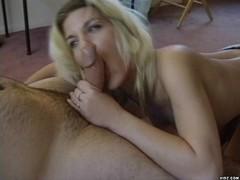Brazen hussy enjoys having huge member kissed and played