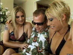 Two horny blondes enjoy fast ride over dick