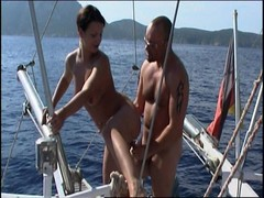 Lovely brunette hussy in yacht sexcapade