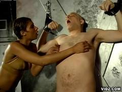 Dominating sluts make white stud suffer
