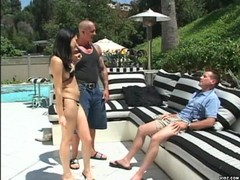 Hot brunette chick takes on guy and bodyguard