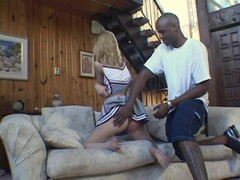Blonde cheerleader bitch gets spank by Black dude