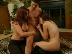 Two redhead hotties share one horny guy