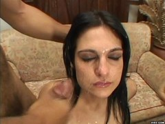 Two guys double-down on brunette slut