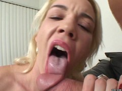 Hot blonde licks partner's balls and dick