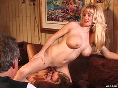 Two horny blondes play with rubber cock