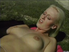 Blonde babe in hot outdoor fuck scene