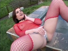Horny slut satisfies self by playing with toy