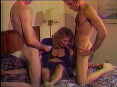 Horny grandma loves being double penetrated