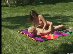 Cute brunette give partner a hot blowjob