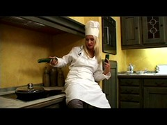Nasty blonde chef seduced mature man