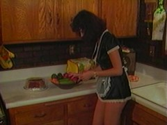 Naughty maid bitch got hot over cucumber