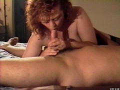 Redhead hottie sucks man's hot shaft
