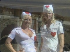 Two blonde nurses gives guy fucking treatment