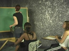 Naughty inquisitive classmates do some nasty make out