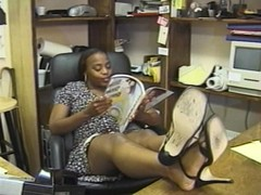Babe Tyra fucks right in the office table