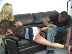 Drunk teen slut gets spanked by foster parents