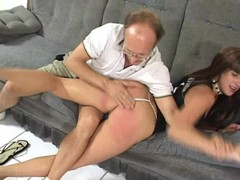 Furious dad spanks daughters ass until swollen red