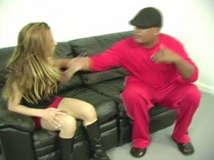 Teen slut gets white ass spanked by black dude