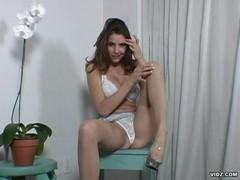 Soft elegant brunette fantasizes man spanking