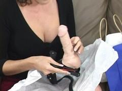 Nasty bitch bangs slut friend with fancy strap on