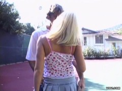 Blonde babe doggystyled by nasty hard cock