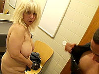 Restroom threesome fuck with blonde