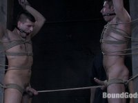 Super Stud Derrek Diamond gets flogged and fucked in bondage for the first time