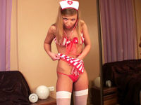 nurse in red uniform and white stockings