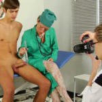 Medical room is a place where women clothed but males are fully naked