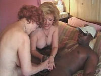 2 grannies toying big ebony cock