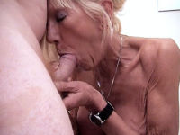busty grandma has her tits fondled before cock sucking