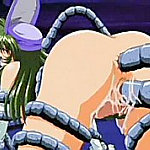 Young girls gets all their holes filled with a thick slime tentacles