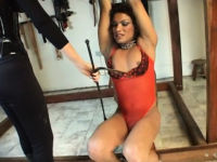 slave t-girl punished by two dommes